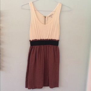 Cream and Brown Dress